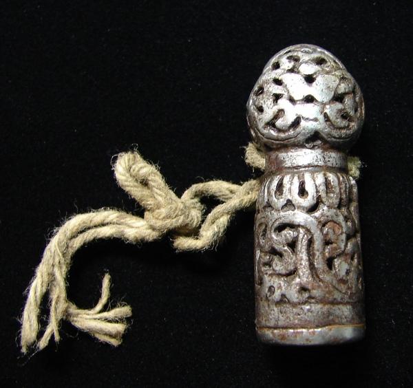 坊間日益珍稀、罕見鏤空型制銀授印章(Mandala Seal)【藏傳老天鐵】(Thogchags)﹗