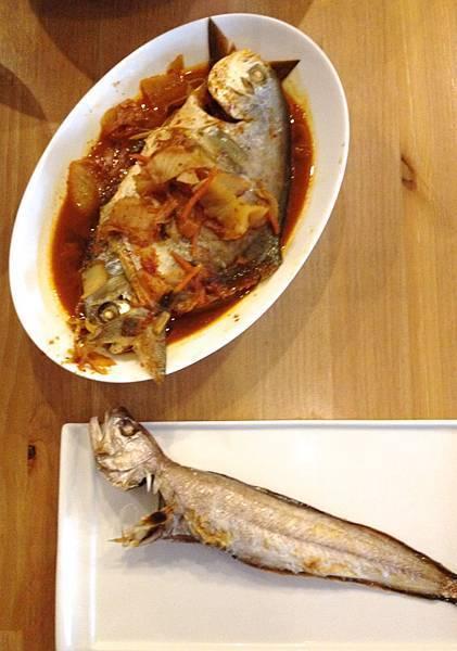 泡菜金鯧和鹽烤鼬魚