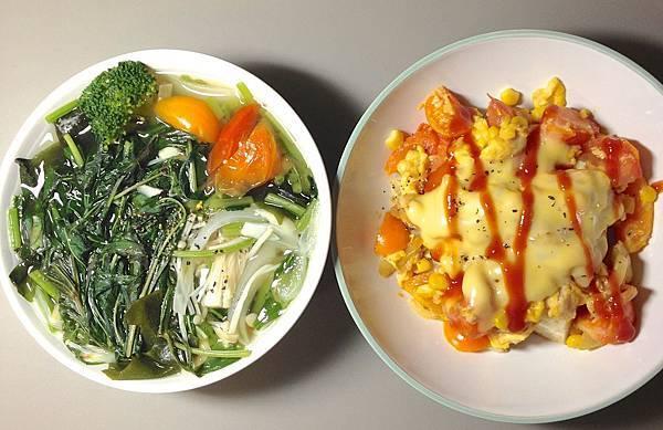 兩個碗02 青菜湯/起司番茄蛋-鮪魚玉米