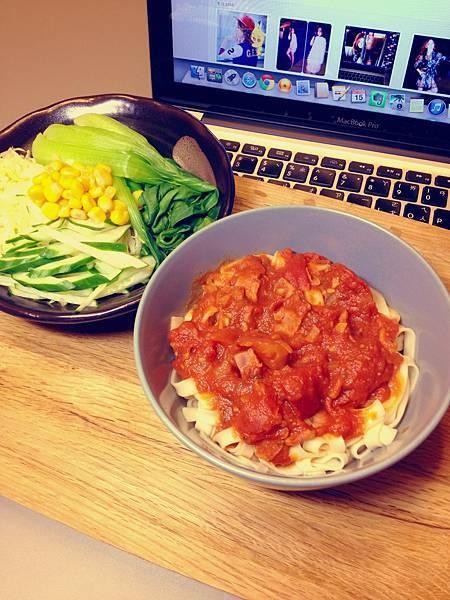 番茄培根麵(家常寬麵)