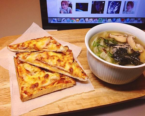 吐司披薩 味增蔬菜湯