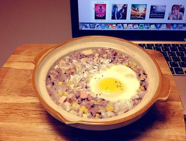 雞蛋香菇五穀米粥