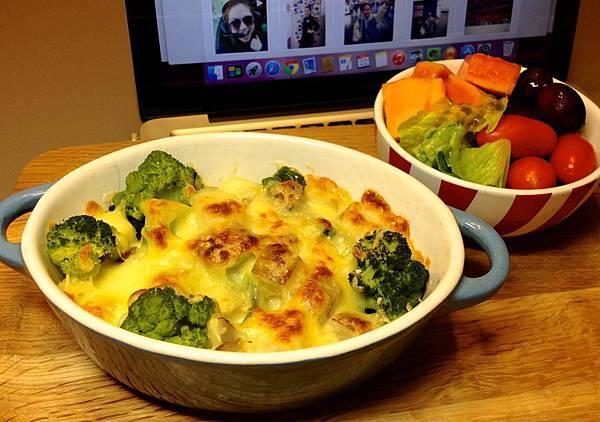 焗薯泥+青花菜