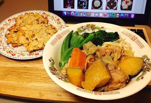 南瓜燉肉蓋麵、杏仁瓦片