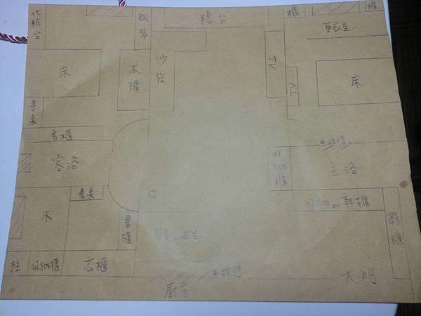 當初女屋主手繪的平配圖(後有更動)