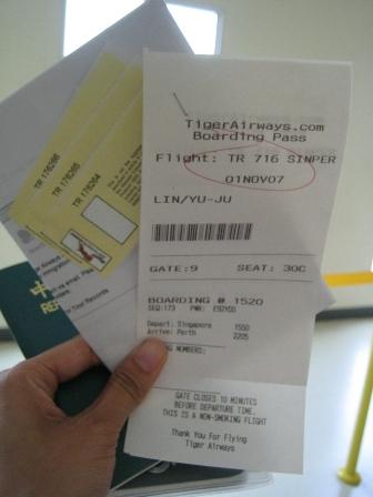 老虎航空的登機證