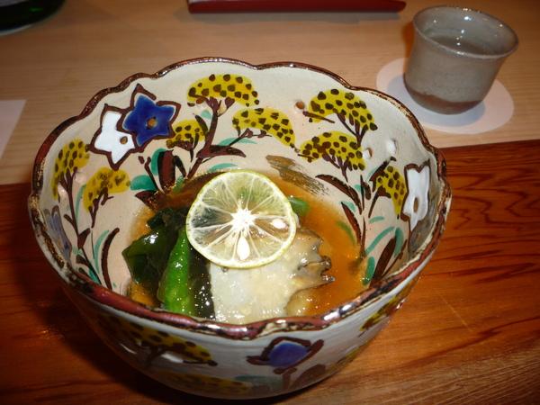 前菜:蛸湯燉吉品鮑魚,若芽酢Jelly