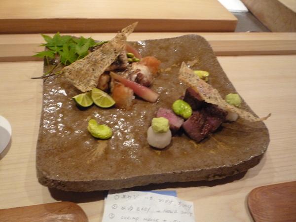 碳烤seabass,米澤牛Serloin