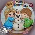 R0020933【主圖:漫畫版:兒時的ELSA+ANNA+雪寶】(浮凸式)/單層蛋糕舞台