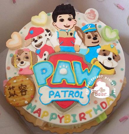 R0024595【主圖:汪汪隊:4犬+萊德+LOGO】浮凸式/單層蛋糕舞台