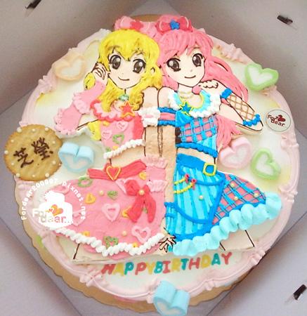 R0024237-【主圖:偶像學園:二位角色/華服畫到裙襬】浮凸式/單層蛋糕舞台
