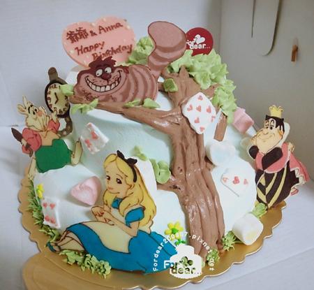 R0025628-【愛麗絲夢遊仙境:延伸上下層的大樹+4角色飾片】雙層蛋糕舞台