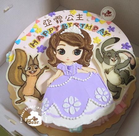 R0027051【Q版蘇菲亞小公主(浮凸)+小松鼠飾片+小兔子飾片 】/單層蛋糕舞台