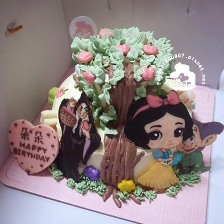 R0027372-【延伸上下層的蘋果樹+三片飾片:白雪、巫婆、矮人】雙層蛋糕舞台