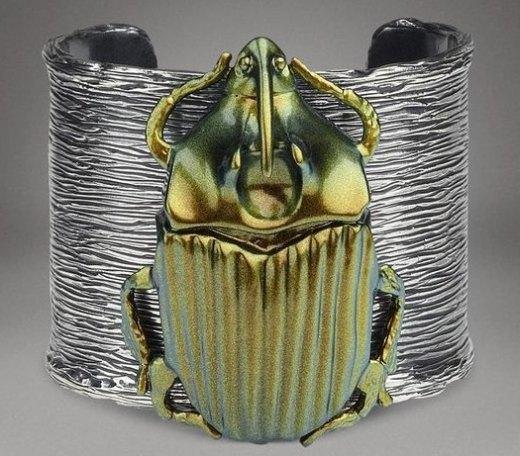 Pyrite Scarabee Oxidized Silver Bug Cuff.jpg