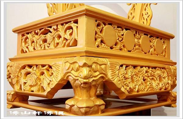 【龍椅佛俱用品】1呎3神像專用 - 皇金雙龍椅- 座高7吋