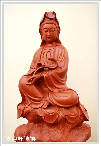 【觀音神像佛俱】一尺三紅壇木如意觀世音菩薩