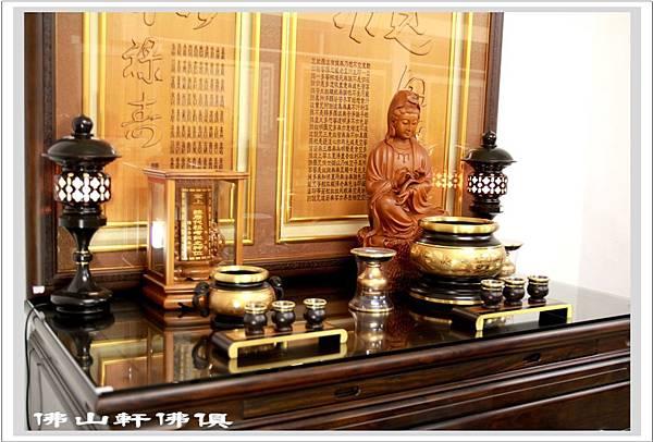 佛桌素漢式黑檀深框木雕佛聯4