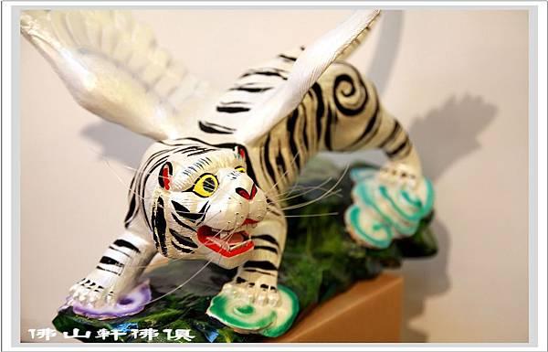 飛天白虎木刻雕像3
