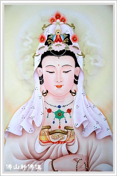 【佛山軒神聯佛俱】粉紅淡彩式手繪觀音佛聯