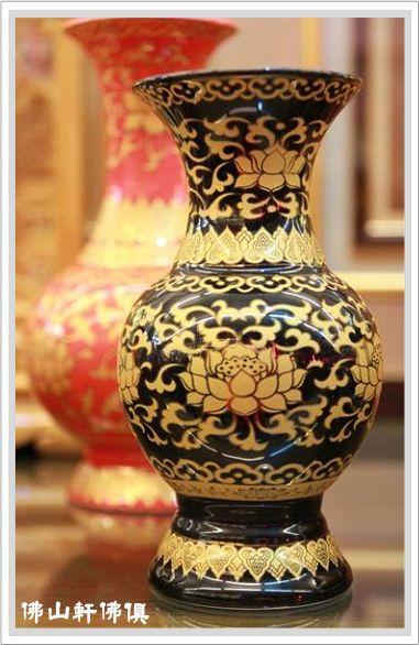 【佛山軒佛俱精品】紅天球鎏金花瓶-黑如意鎏金花瓶