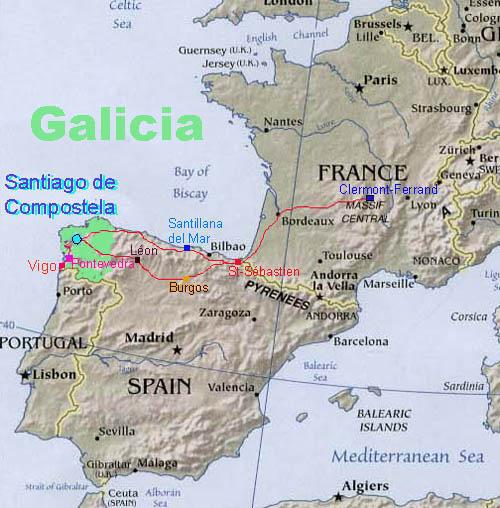 Galicia加利西亞的行程圖,來回長達兩千八百多公里!!
