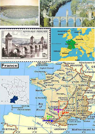 古城Cahors卡奧爾的位置與我們這次的行程圖