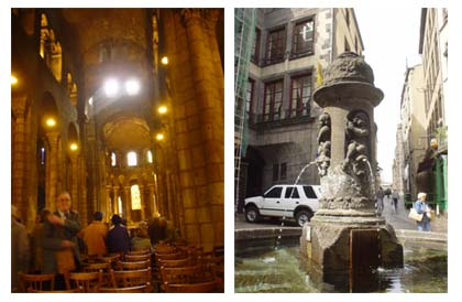 教堂古老莊嚴的內部與附近古樸的噴泉