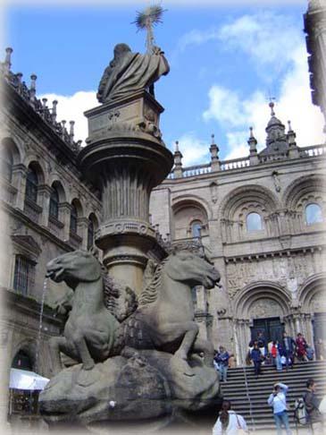 大教堂旁的噴泉一景