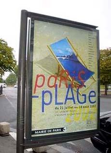 巴黎塞納河旁 ,龐畢度大道沙灘椰樹廣告刊版