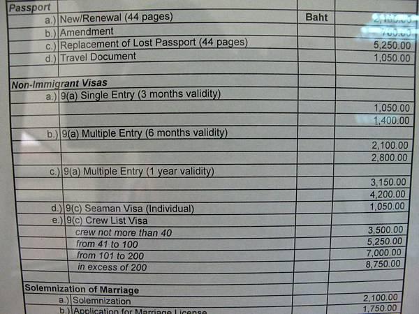 費用明細表 VISA=1050 Baht