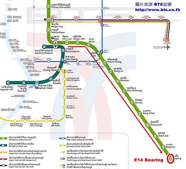 從曼谷市搭BTS空鐵的Sukhumvit線坐到終點站Bearing