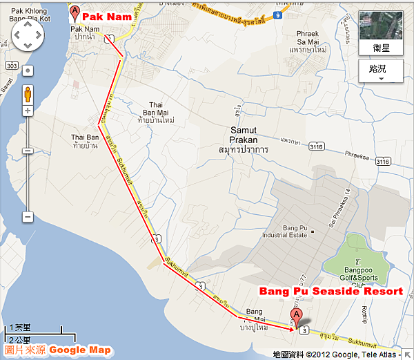 從Pak nam City往Bang Pu Seaside Resort