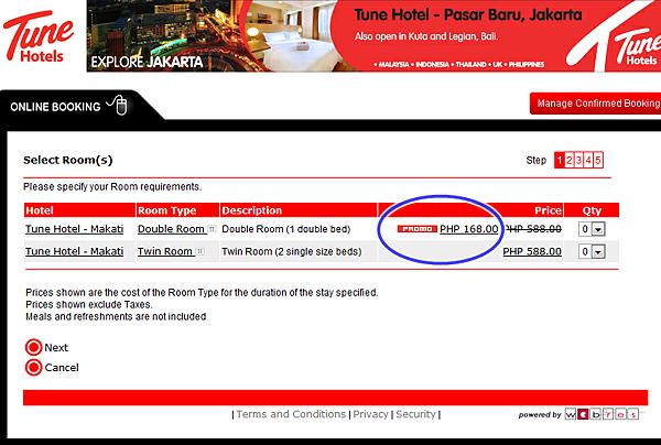 Tune Hotel 168PHP 特價