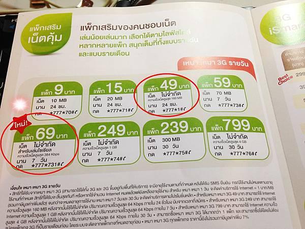 泰國手機3G上網 69銖 7天無限上網