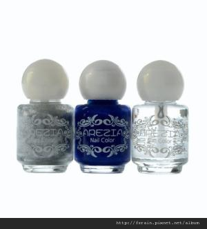 Arezia Crackling Top Nail Polish Set-Shining Silver & Sapphire Blue