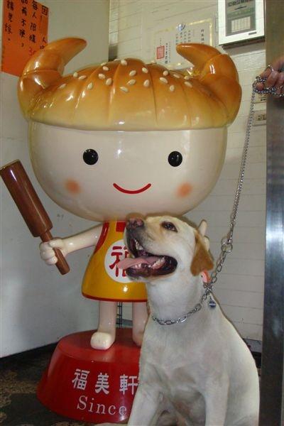 他和三峽牛角麵包娃娃照相