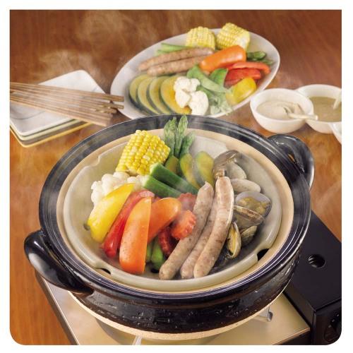 《長谷園伊賀燒》冷熱料理兩用‧遠紅外線健康蒸鍋 (2)