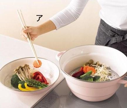 《蒸煮拌燙》四合一琺瑯萬能鍋‧附專用蒸盤 (2)