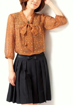 cecile女裝--秋色蝴蝶結7分袖雪紡上衣