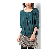 cecile女裝--拚接素材雪紡裙洋裝(綠色)