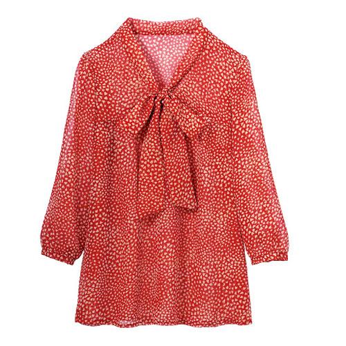 cecile女裝--秋色蝴蝶結7分袖雪紡上衣(紅色愛心)