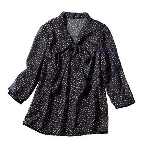 cecile女裝--秋色蝴蝶結7分袖雪紡上衣(深藍點點)
