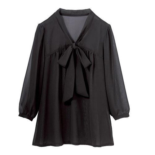 cecile女裝--秋色蝴蝶結7分袖雪紡上衣(黑色)