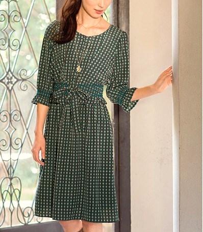 cecile女裝--修飾腰身經典長袖洋裝