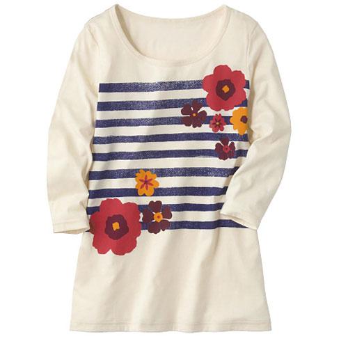 cecile女裝--圓領天竺棉7分袖印花上衣(米白花朵)