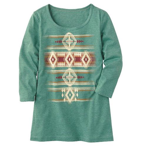 cecile女裝--圓領天竺棉7分袖印花上衣(清新綠)