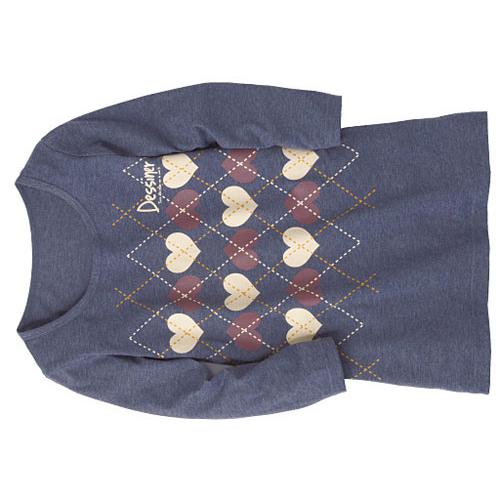 cecile女裝--圓領天竺棉7分袖印花上衣(菱格深藍)