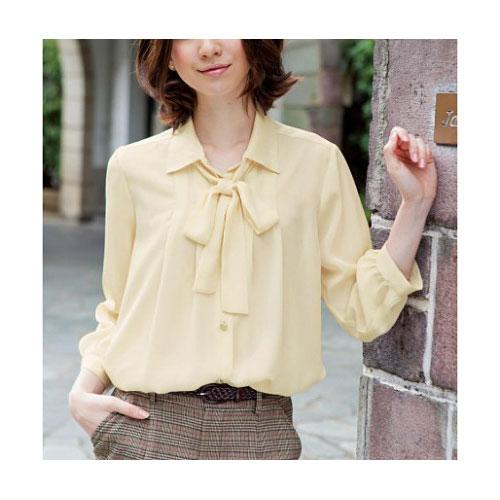 cecile女裝--蝴蝶結雪紡長袖襯衫(米白)