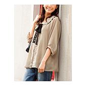 cecile女裝--蕾絲繫帶圓領雪紡7分袖上衣(米灰)